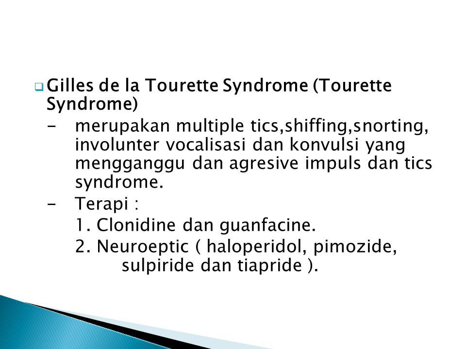  Gilles de la Tourette Syndrome (Tourette Syndrome) - merupakan multiple tics,shiffing,snorting, involunter vocalisasi dan konvulsi yang mengganggu d