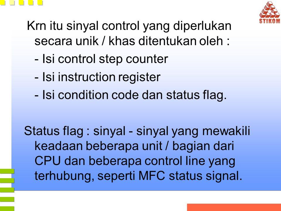 Krn itu sinyal control yang diperlukan secara unik / khas ditentukan oleh : - Isi control step counter - Isi instruction register - Isi condition code