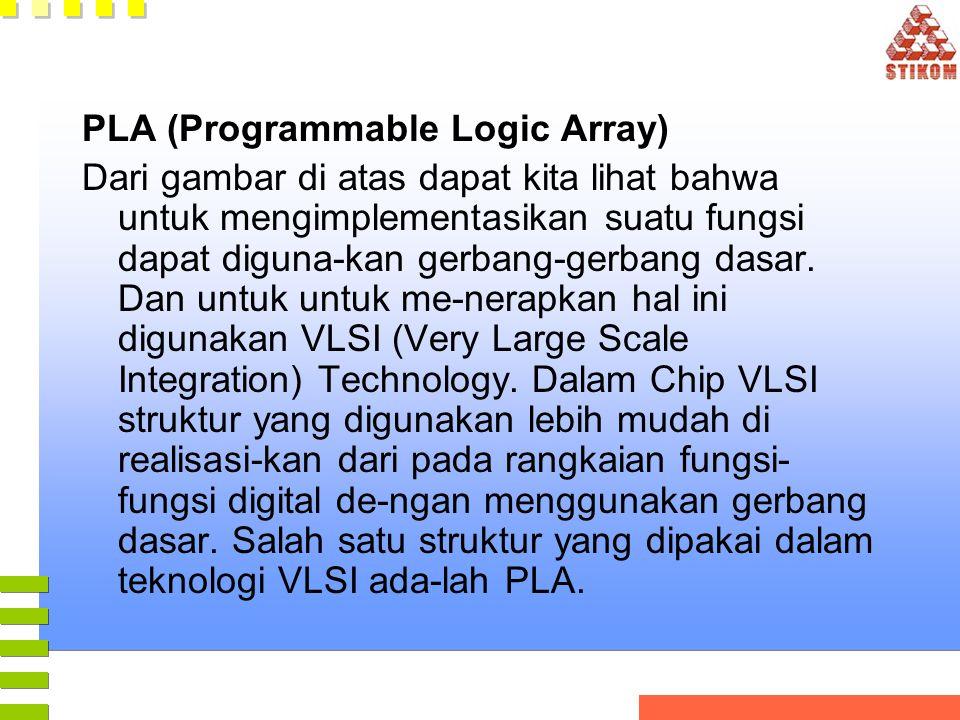 PLA (Programmable Logic Array) Dari gambar di atas dapat kita lihat bahwa untuk mengimplementasikan suatu fungsi dapat diguna-kan gerbang-gerbang dasa