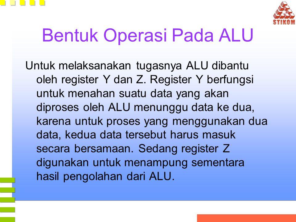 Bentuk Operasi Pada ALU Untuk melaksanakan tugasnya ALU dibantu oleh register Y dan Z. Register Y berfungsi untuk menahan suatu data yang akan diprose