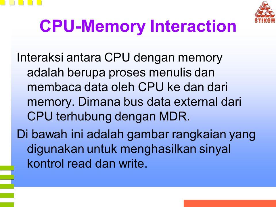 CPU-Memory Interaction Interaksi antara CPU dengan memory adalah berupa proses menulis dan membaca data oleh CPU ke dan dari memory. Dimana bus data e