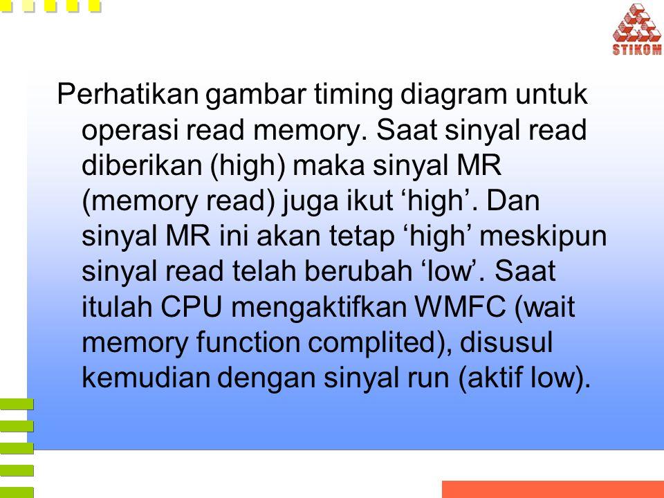 Perhatikan gambar timing diagram untuk operasi read memory. Saat sinyal read diberikan (high) maka sinyal MR (memory read) juga ikut 'high'. Dan sinya