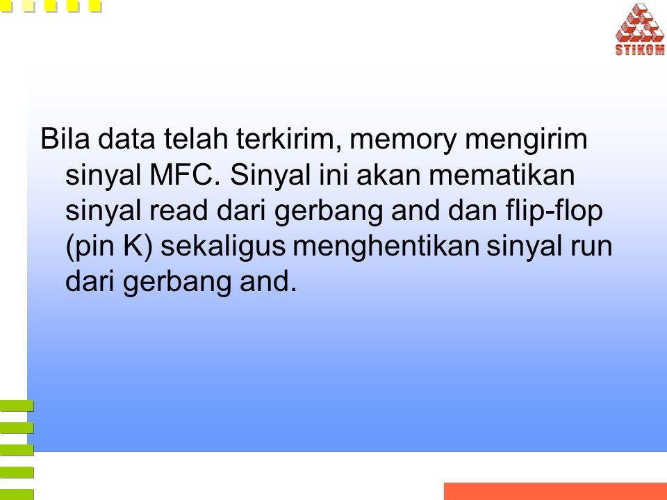Bila data telah terkirim, memory mengirim sinyal MFC. Sinyal ini akan mematikan sinyal read dari gerbang and dan flip-flop (pin K) sekaligus menghenti