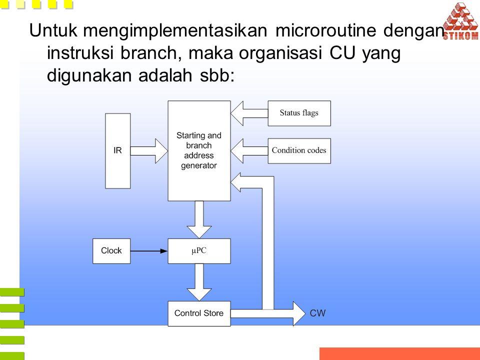 Untuk mengimplementasikan microroutine dengan instruksi branch, maka organisasi CU yang digunakan adalah sbb: