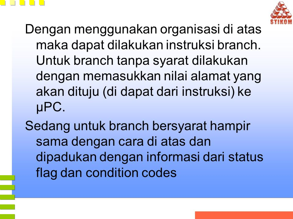 Dengan menggunakan organisasi di atas maka dapat dilakukan instruksi branch. Untuk branch tanpa syarat dilakukan dengan memasukkan nilai alamat yang a