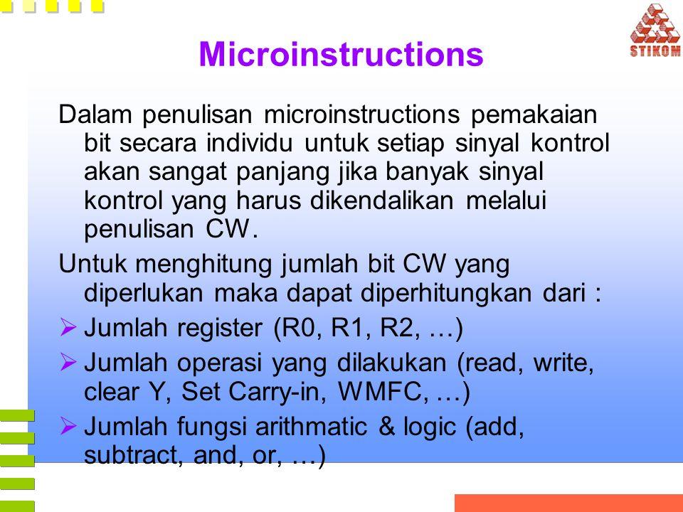 Microinstructions Dalam penulisan microinstructions pemakaian bit secara individu untuk setiap sinyal kontrol akan sangat panjang jika banyak sinyal k