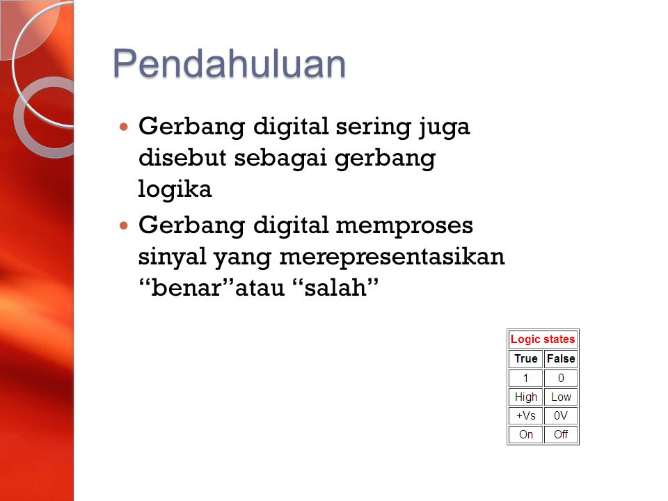 """Pendahuluan Gerbang digital sering juga disebut sebagai gerbang logika Gerbang digital memproses sinyal yang merepresentasikan """"benar""""atau """"salah"""""""