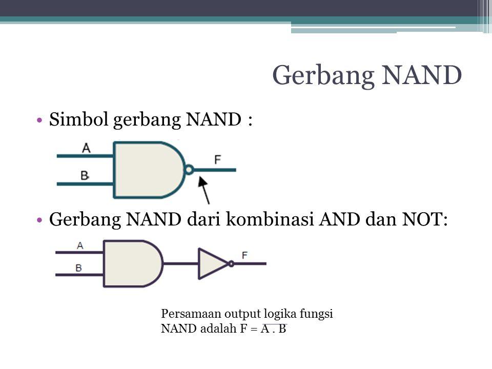 Gerbang NAND Simbol gerbang NAND : Gerbang NAND dari kombinasi AND dan NOT: Persamaan output logika fungsi NAND adalah F = A. B