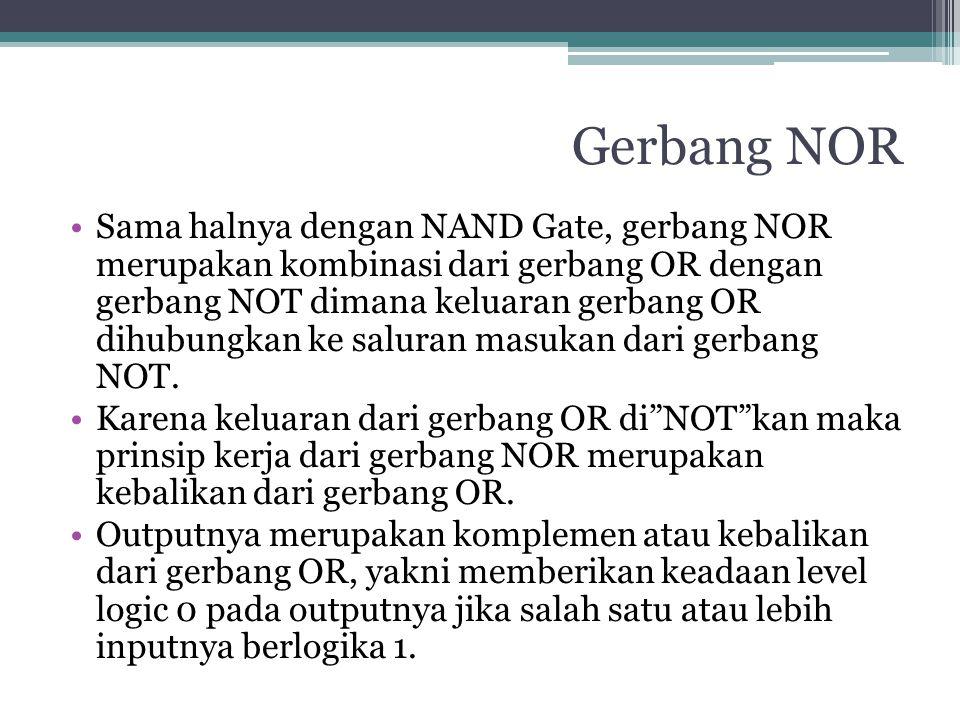 Gerbang NOR Sama halnya dengan NAND Gate, gerbang NOR merupakan kombinasi dari gerbang OR dengan gerbang NOT dimana keluaran gerbang OR dihubungkan ke