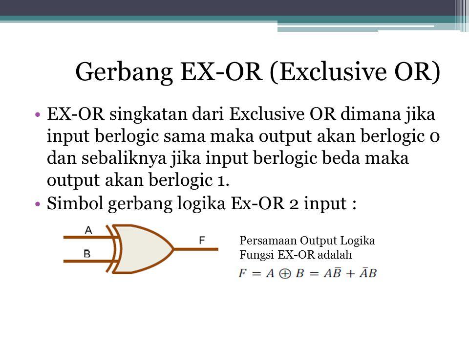 Gerbang EX-OR (Exclusive OR) EX-OR singkatan dari Exclusive OR dimana jika input berlogic sama maka output akan berlogic 0 dan sebaliknya jika input b