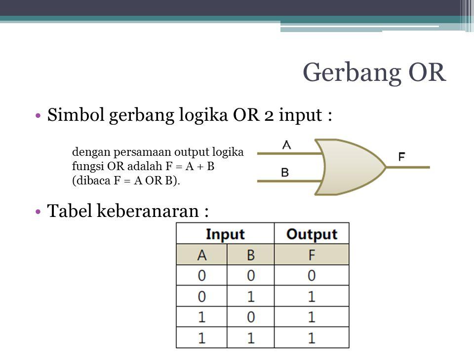 Gerbang OR Simbol gerbang logika OR 2 input : Tabel keberanaran : dengan persamaan output logika fungsi OR adalah F = A + B (dibaca F = A OR B).