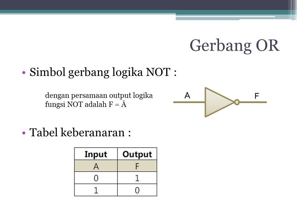 Gerbang OR Simbol gerbang logika NOT : Tabel keberanaran : dengan persamaan output logika fungsi NOT adalah F = Ā
