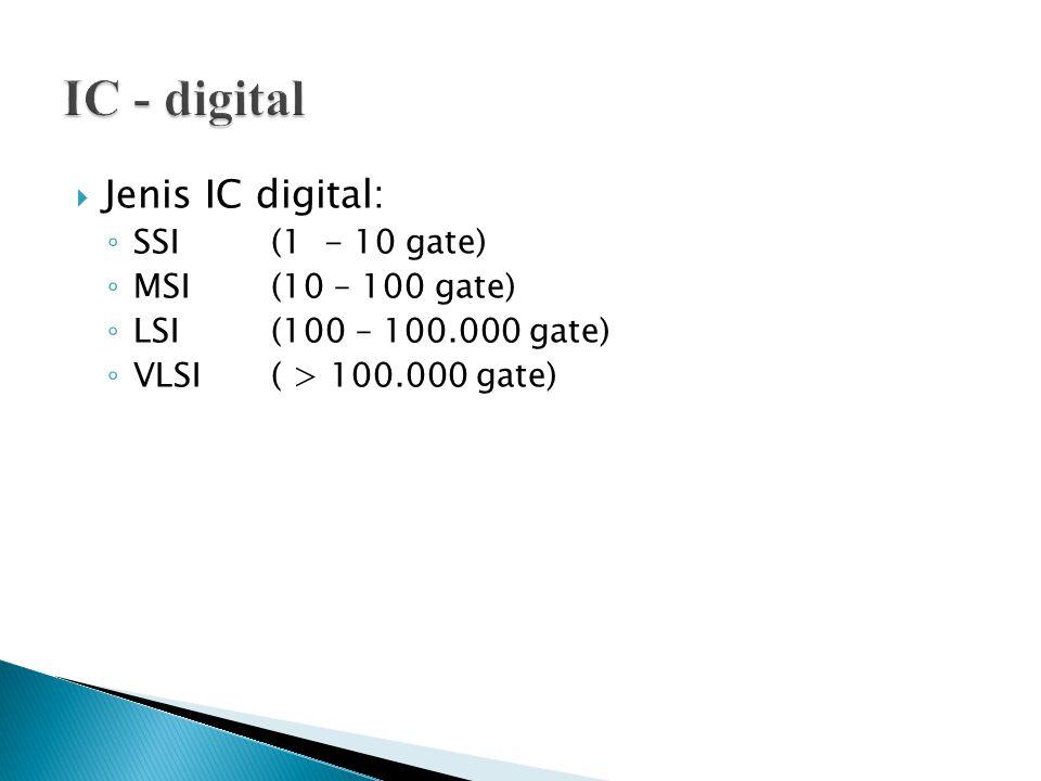  Jenis IC digital: ◦ SSI (1 - 10 gate) ◦ MSI(10 – 100 gate) ◦ LSI(100 – 100.000 gate) ◦ VLSI( > 100.000 gate)