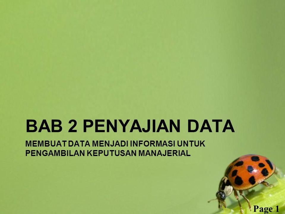 Free Powerpoint Templates Page 1 MEMBUAT DATA MENJADI INFORMASI UNTUK PENGAMBILAN KEPUTUSAN MANAJERIAL BAB 2 PENYAJIAN DATA
