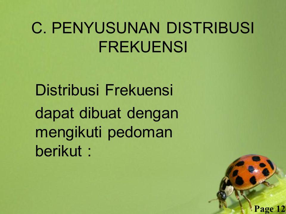 Free Powerpoint Templates Page 12 C. PENYUSUNAN DISTRIBUSI FREKUENSI Distribusi Frekuensi dapat dibuat dengan mengikuti pedoman berikut :