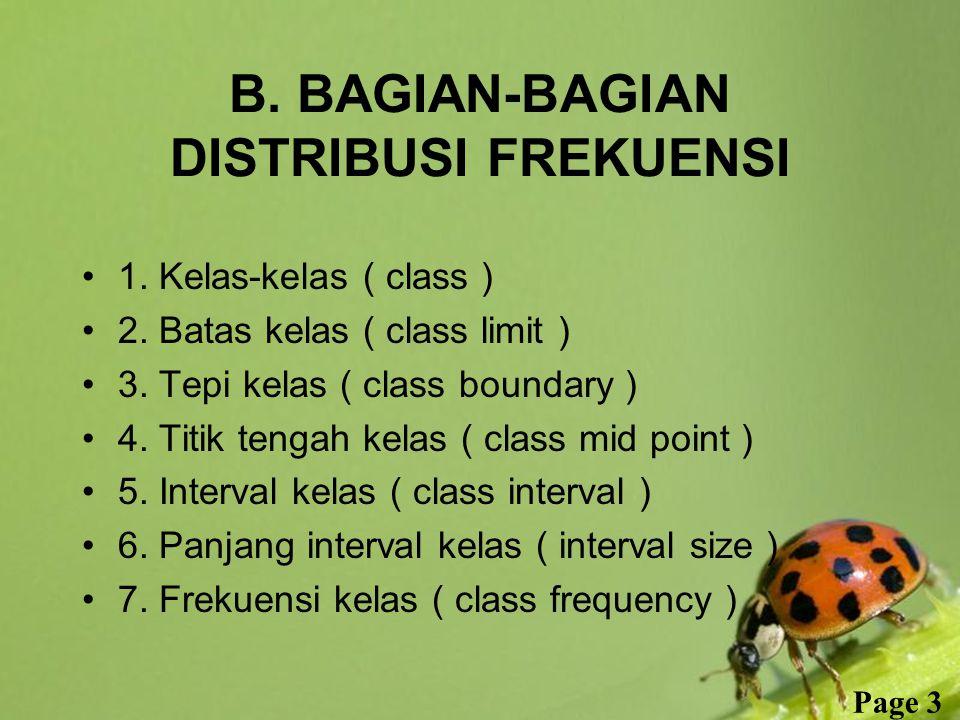 Free Powerpoint Templates Page 3 B. BAGIAN-BAGIAN DISTRIBUSI FREKUENSI 1. Kelas-kelas ( class ) 2. Batas kelas ( class limit ) 3. Tepi kelas ( class b