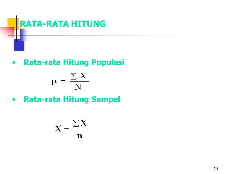 13 RATA-RATA HITUNG Rata-rata Hitung Populasi Rata-rata Hitung Sampel