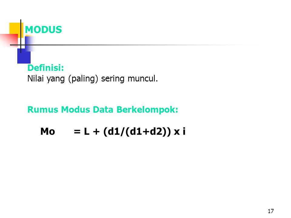 17 MODUS Definisi: Nilai yang (paling) sering muncul. Rumus Modus Data Berkelompok: Mo= L + (d1/(d1+d2)) x i