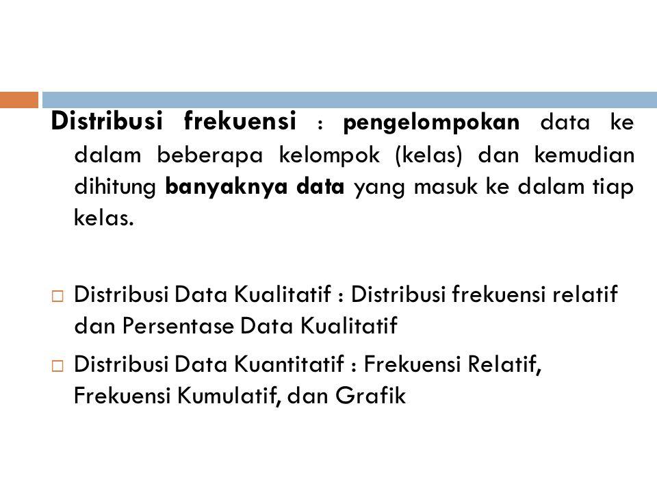 Distribusi frekuensi : pengelompokan data ke dalam beberapa kelompok (kelas) dan kemudian dihitung banyaknya data yang masuk ke dalam tiap kelas.  Di
