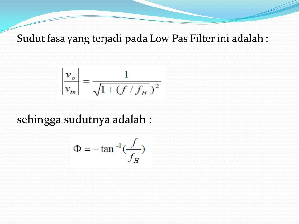 dan tegangan outputnya : Jadi persamaannya : Dimana : penguatan filter fungsi frekuensi Penguatan pass band dari filter Frekuensi sinyal input Cut off