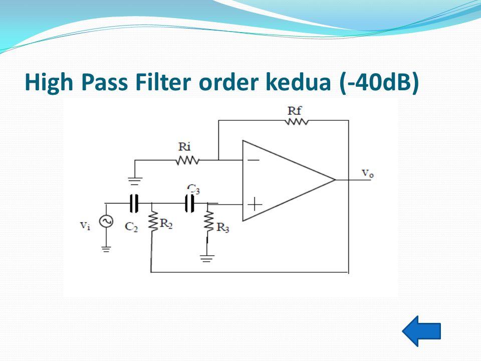 High Pass Filter order kedua (-40dB) Seperti halnya pada LPF order kedua, HPF order kedua ini cirinya sama, maka persamaan yang terjadi adalah : Dan p