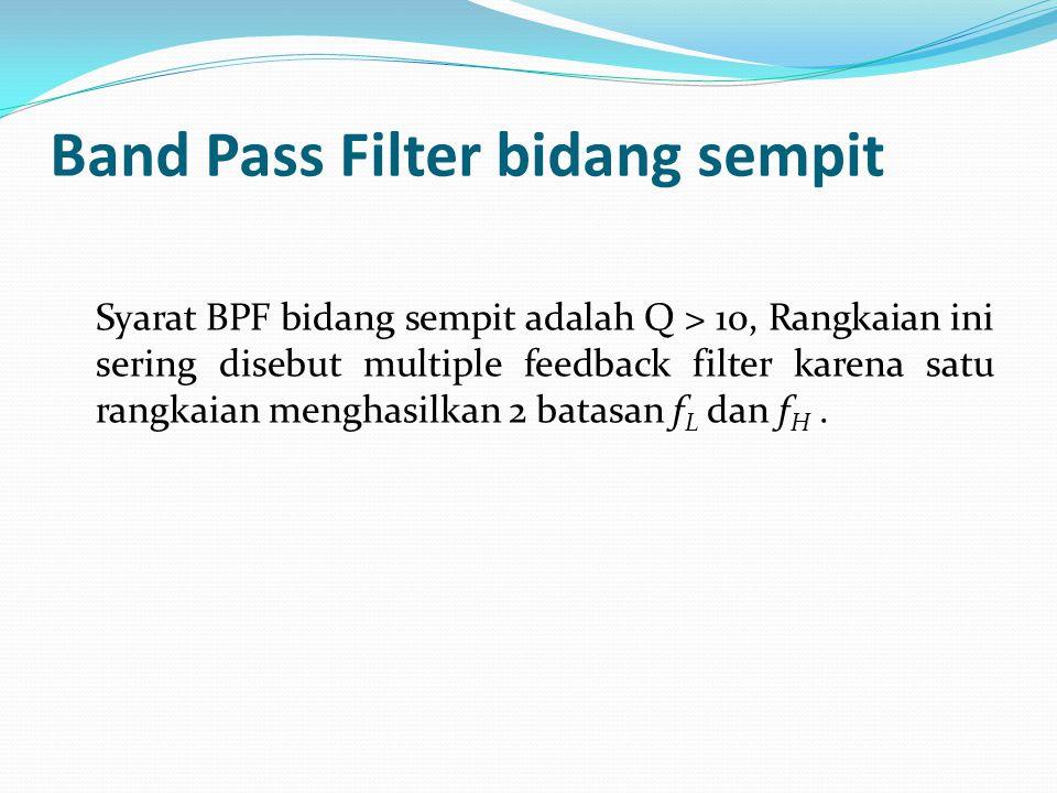 Karakteristik Rangkaian BPF bidang lebar Nilai penguatan tegangan absolutnya adalah :