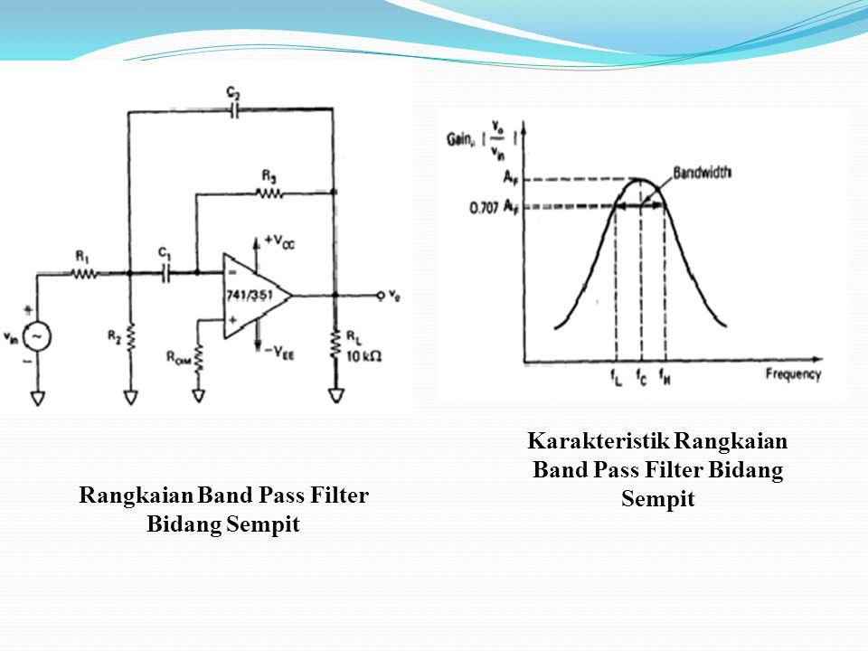 Band Pass Filter bidang sempit Syarat BPF bidang sempit adalah Q > 10, Rangkaian ini sering disebut multiple feedback filter karena satu rangkaian men