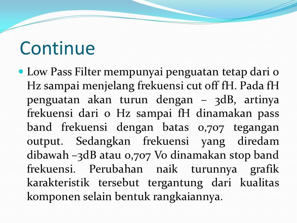 Continue Low Pass Filter mempunyai penguatan tetap dari 0 Hz sampai menjelang frekuensi cut off fH.