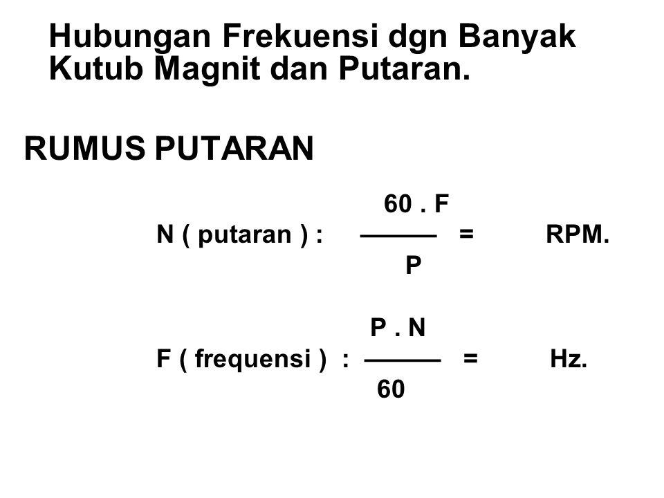 Hubungan Frekuensi dgn Banyak Kutub Magnit dan Putaran. RUMUS PUTARAN 60. F N ( putaran ) : ——— = RPM. P P. N F ( frequensi ) : ——— = Hz. 60