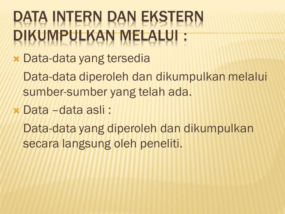  Data-data yang tersedia Data-data diperoleh dan dikumpulkan melalui sumber-sumber yang telah ada.  Data –data asli : Data-data yang diperoleh dan d