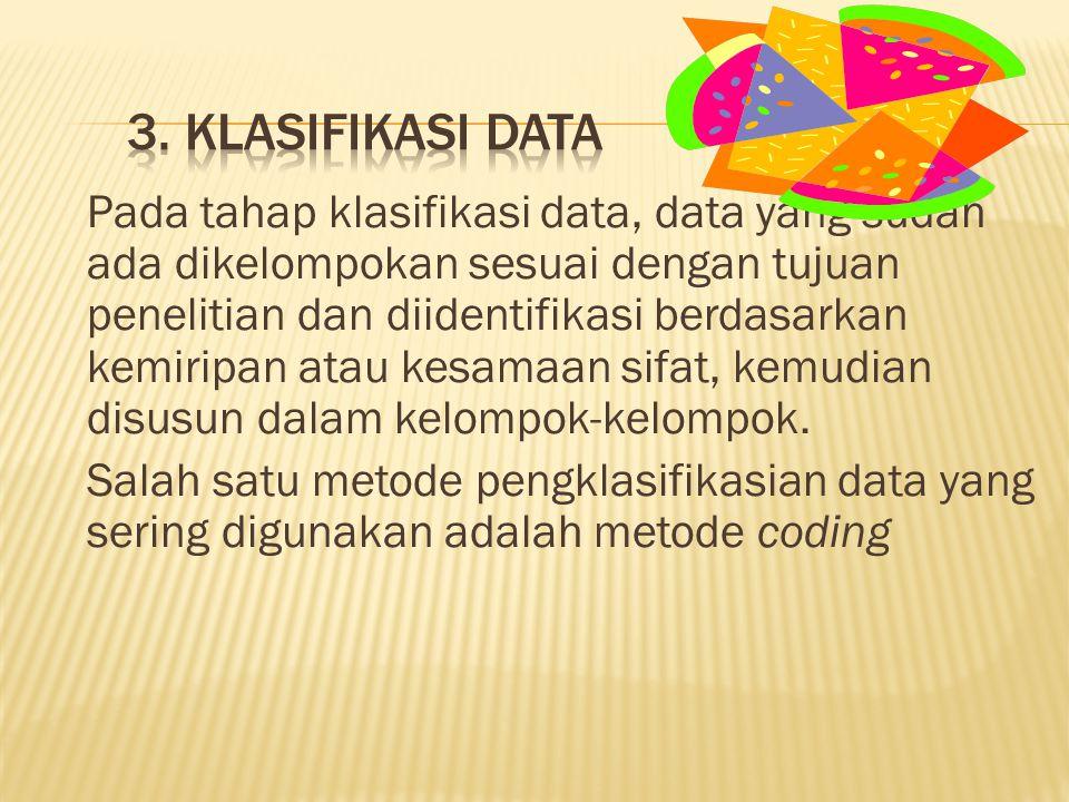 Pada tahap klasifikasi data, data yang sudah ada dikelompokan sesuai dengan tujuan penelitian dan diidentifikasi berdasarkan kemiripan atau kesamaan sifat, kemudian disusun dalam kelompok-kelompok.