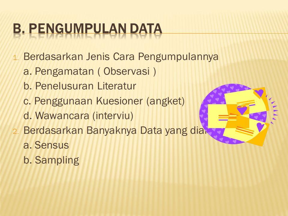 1.Berdasarkan Jenis Cara Pengumpulannya a. Pengamatan ( Observasi ) b.