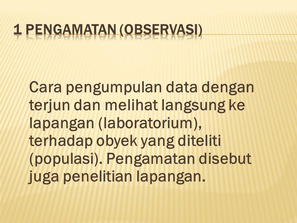 Cara pengumpulan data dengan terjun dan melihat langsung ke lapangan (laboratorium), terhadap obyek yang diteliti (populasi).