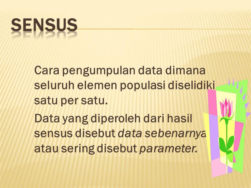 Cara pengumpulan data dimana seluruh elemen populasi diselidiki satu per satu.