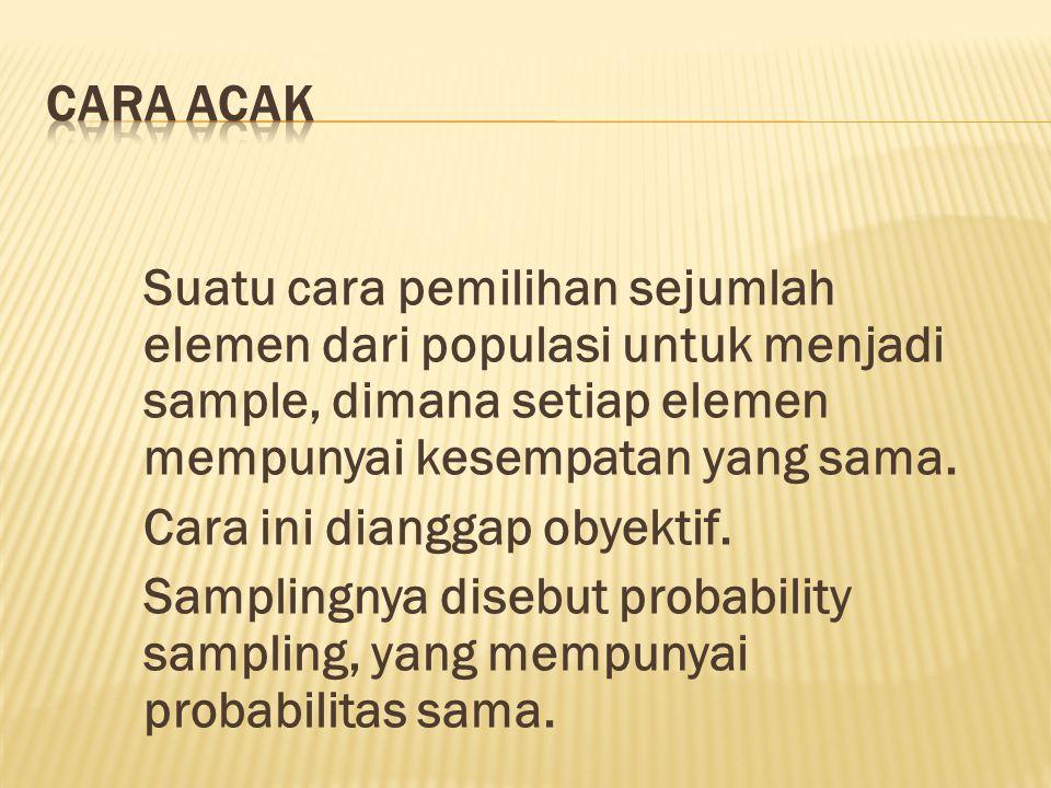 Suatu cara pemilihan sejumlah elemen dari populasi untuk menjadi sample, dimana setiap elemen mempunyai kesempatan yang sama. Cara ini dianggap obyekt