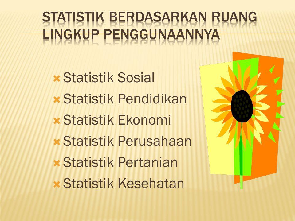  Statistik Sosial  Statistik Pendidikan  Statistik Ekonomi  Statistik Perusahaan  Statistik Pertanian  Statistik Kesehatan
