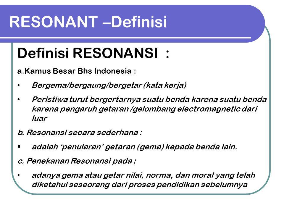RESONANT –Definisi. Definisi RESONANSI : a.Kamus Besar Bhs Indonesia : Bergema/bergaung/bergetar (kata kerja) Peristiwa turut bergertarnya suatu benda