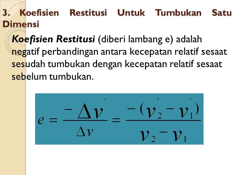 3. Koefisien Restitusi Untuk Tumbukan Satu Dimensi Koefisien Restitusi (diberi lambang e) adalah negatif perbandingan antara kecepatan relatif sesaat