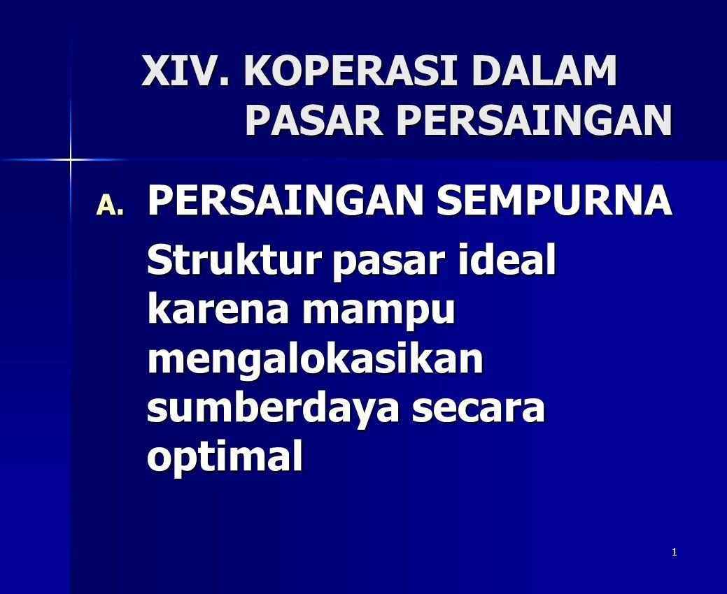 1 XIV. KOPERASI DALAM PASAR PERSAINGAN A. PERSAINGAN SEMPURNA Struktur pasar ideal karena mampu mengalokasikan sumberdaya secara optimal