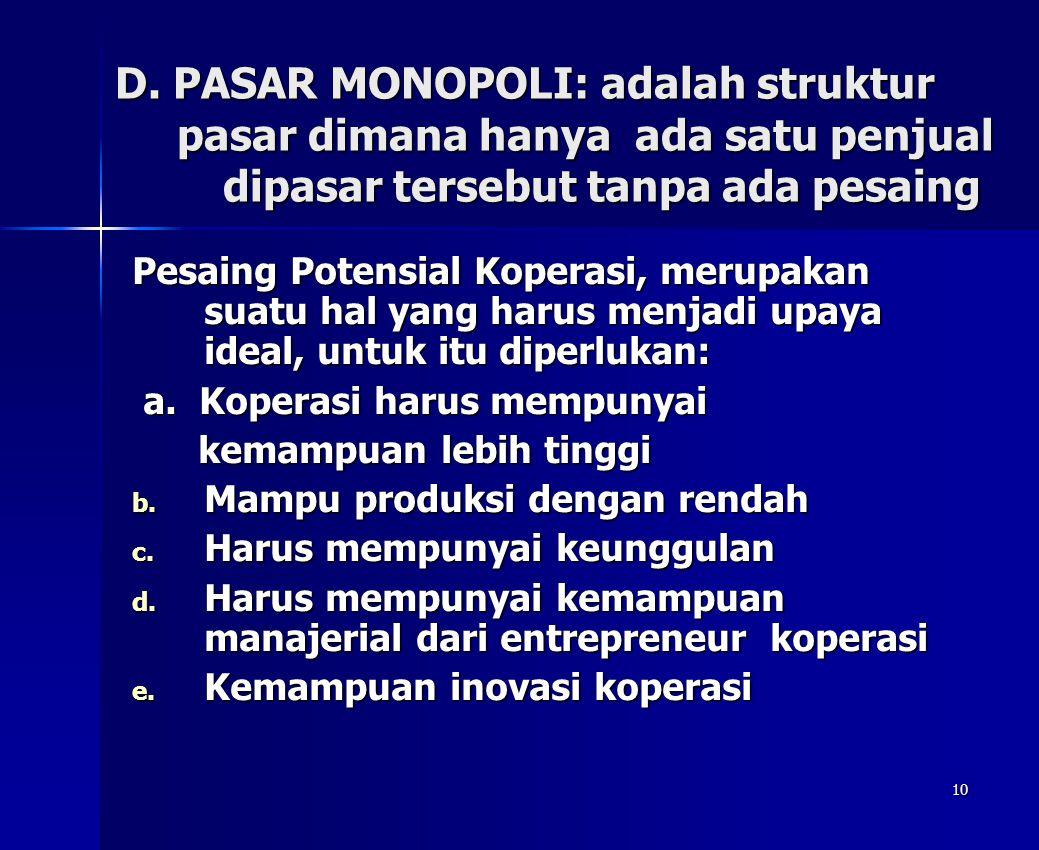10 D. PASAR MONOPOLI: adalah struktur pasar dimana hanya ada satu penjual dipasar tersebut tanpa ada pesaing Pesaing Potensial Koperasi, merupakan sua