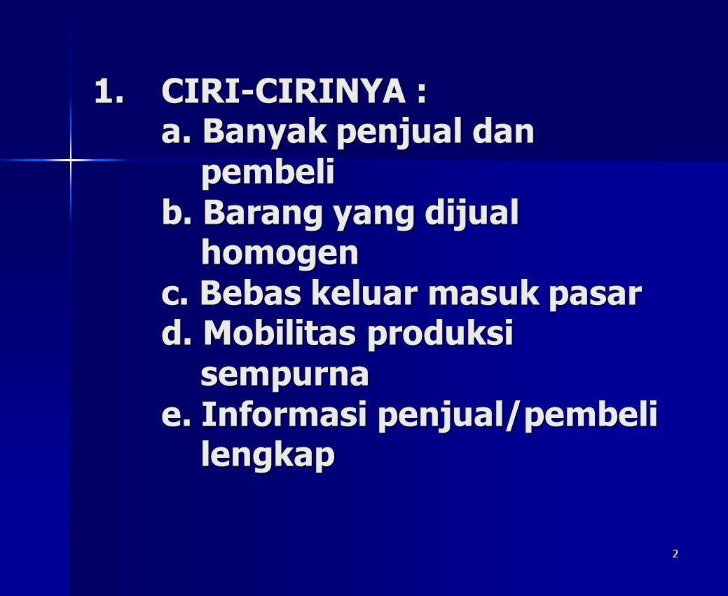2 1.CIRI-CIRINYA : a. Banyak penjual dan pembeli b. Barang yang dijual homogen c. Bebas keluar masuk pasar d. Mobilitas produksi sempurna e. Informasi
