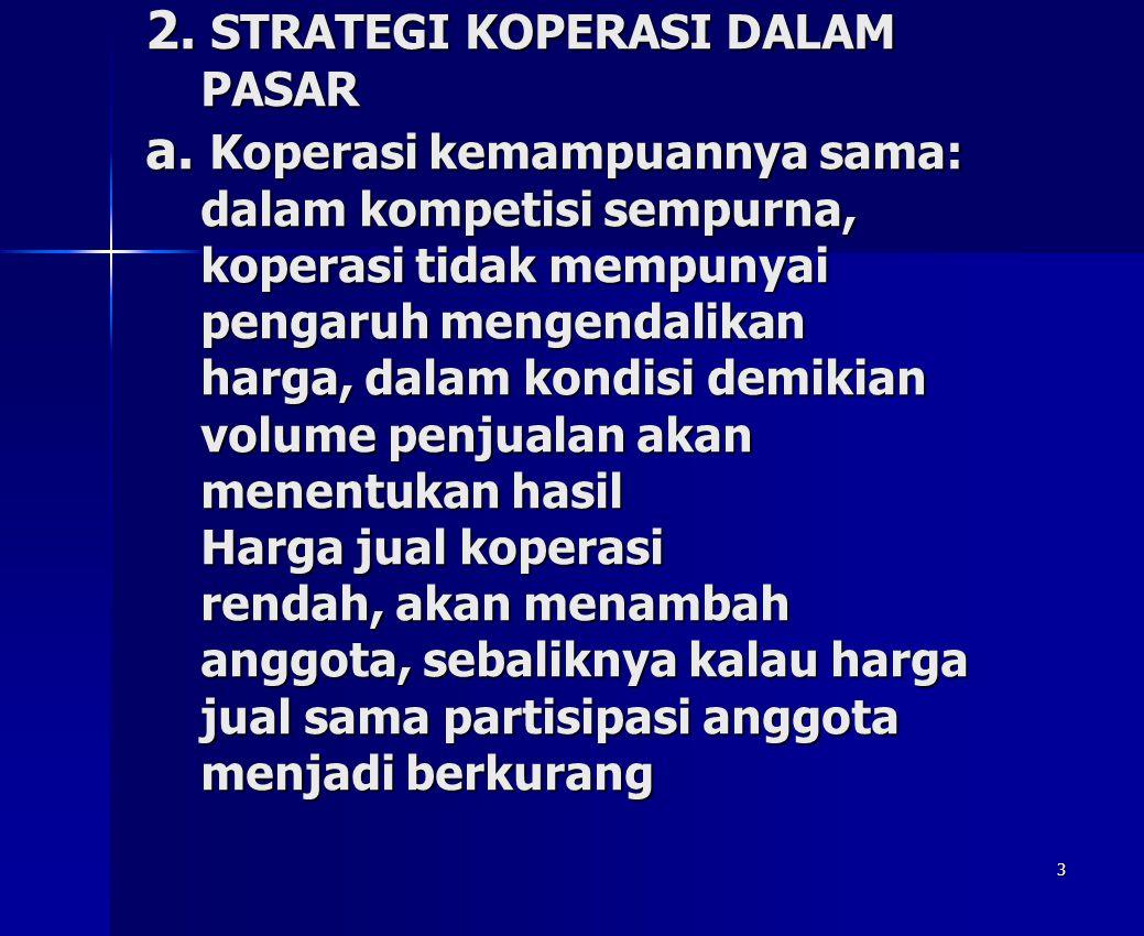 3 2. STRATEGI KOPERASI DALAM PASAR a. Koperasi kemampuannya sama: dalam kompetisi sempurna, koperasi tidak mempunyai pengaruh mengendalikan harga, dal