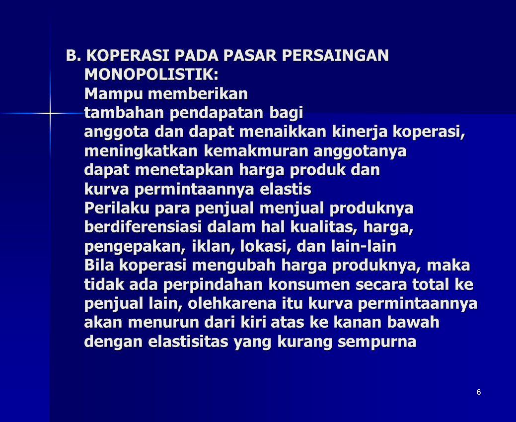 6 B. KOPERASI PADA PASAR PERSAINGAN MONOPOLISTIK: Mampu memberikan tambahan pendapatan bagi anggota dan dapat menaikkan kinerja koperasi, meningkatkan