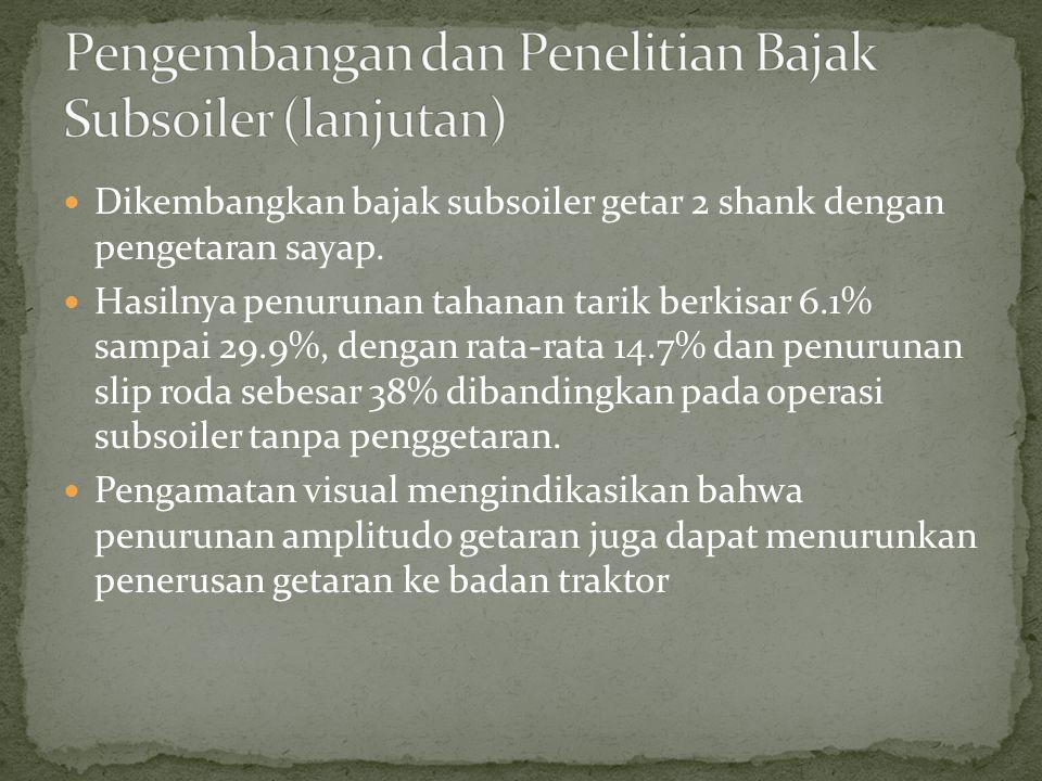 Dikembangkan bajak subsoiler getar 2 shank dengan pengetaran sayap. Hasilnya penurunan tahanan tarik berkisar 6.1% sampai 29.9%, dengan rata-rata 14.7