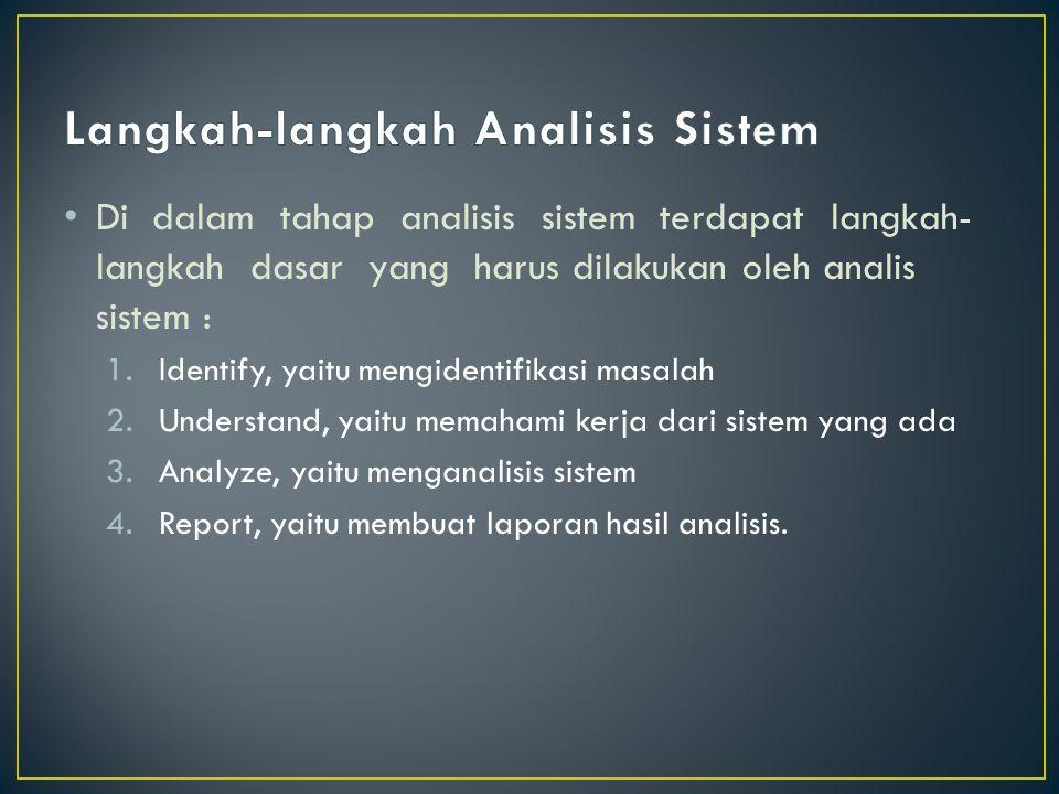 Di dalam tahap analisis sistem terdapat langkah- langkah dasar yang harus dilakukan oleh analis sistem : 1.Identify, yaitu mengidentifikasi masalah 2.