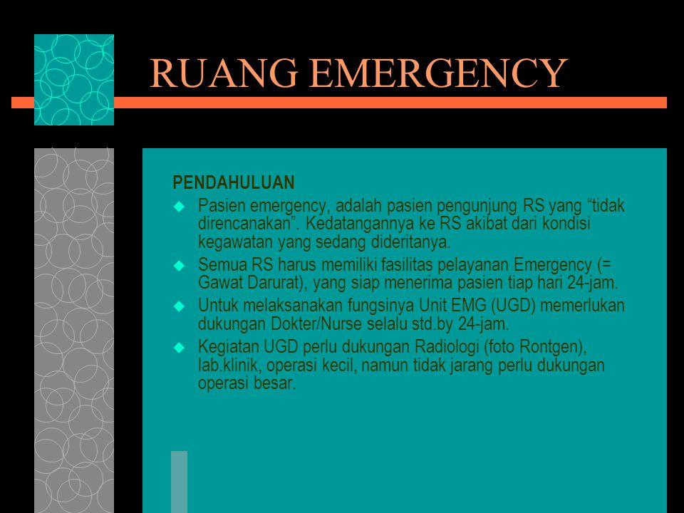 """RUANG EMERGENCY PENDAHULUAN  Pasien emergency, adalah pasien pengunjung RS yang """"tidak direncanakan"""". Kedatangannya ke RS akibat dari kondisi kegawat"""