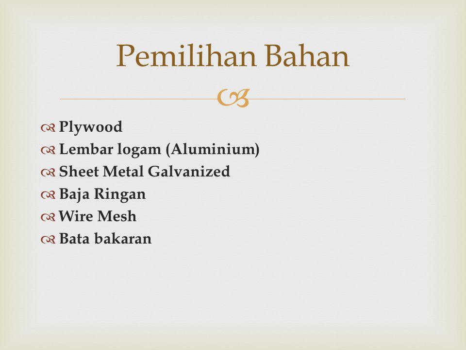   Plywood  Lembar logam (Aluminium)  Sheet Metal Galvanized  Baja Ringan  Wire Mesh  Bata bakaran Pemilihan Bahan