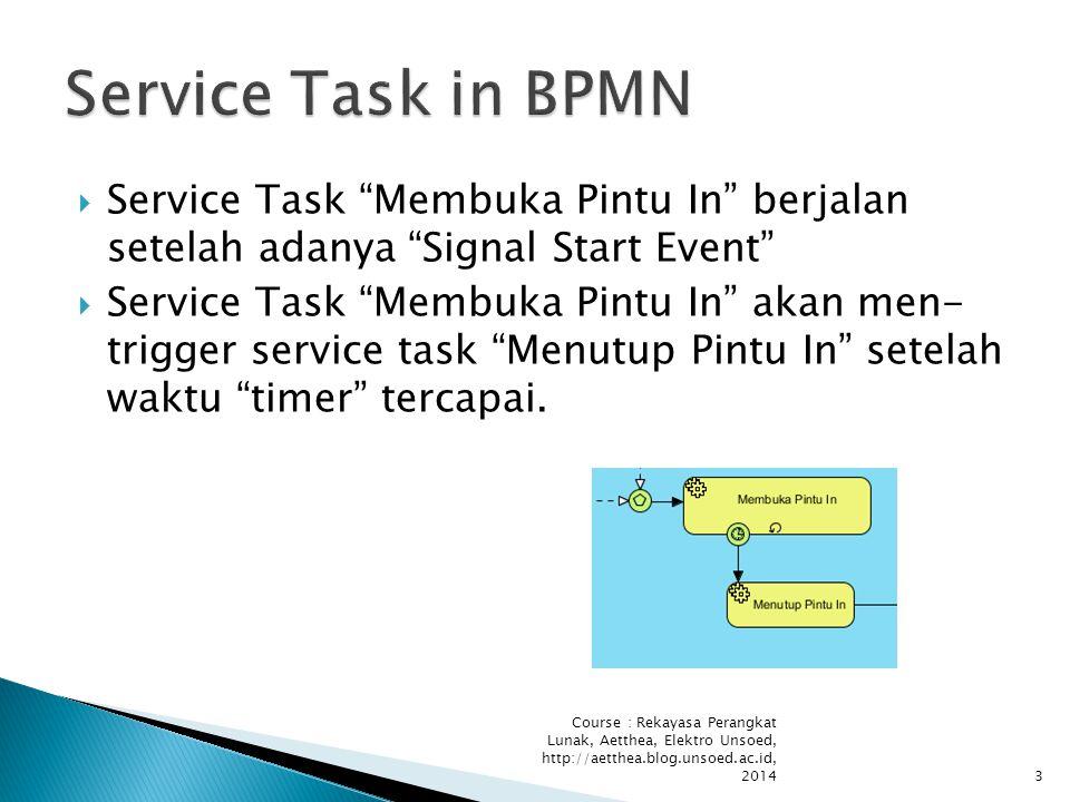  Service Task Membuka Pintu In berjalan setelah adanya Signal Start Event  Service Task Membuka Pintu In akan men- trigger service task Menutup Pintu In setelah waktu timer tercapai.