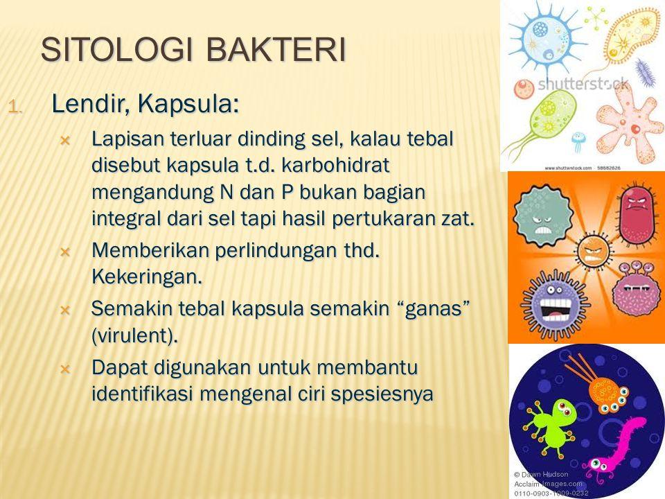 SITOLOGI BAKTERI 1. Lendir, Kapsula:  Lapisan terluar dinding sel, kalau tebal disebut kapsula t.d. karbohidrat mengandung N dan P bukan bagian integ