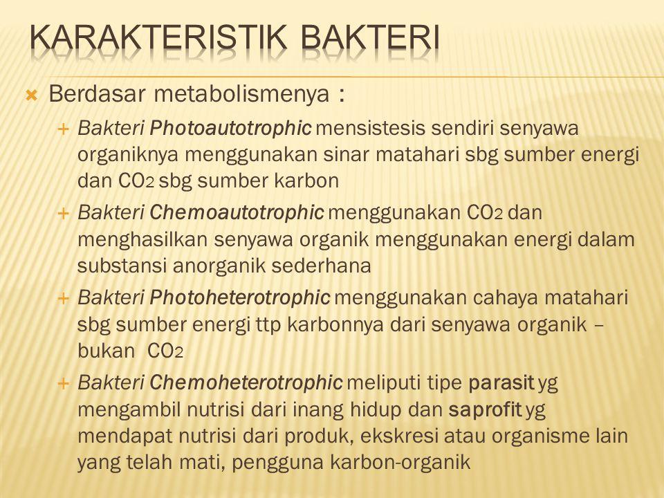  Berdasar metabolismenya :  Bakteri Photoautotrophic mensistesis sendiri senyawa organiknya menggunakan sinar matahari sbg sumber energi dan CO 2 sb